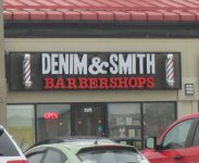 Store front for Denim & Smith Barbershops