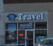 Store front for Crowfoot Travel Solutions